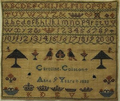 Early 19Th Century Alphabet & Motif Sampler By Caroline Colston Aged 9 - 1832