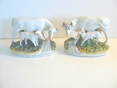 Pair Of Antique 19Th C Victorian Staffordshire Cow & Calf Figurines