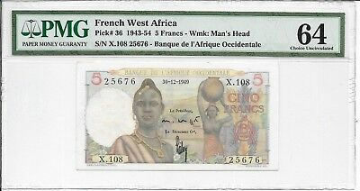 French West Africa - 5 Francs, 1949. PMG 64.