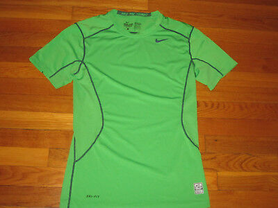 New Nike Pro Combat Dri-Fit Short Sleeve Green Fitted Jersey Mens Small