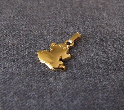 Vintage 80's Pierre Cardin Gold Plated Frog Miniature Pendant Charm