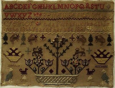 Late 19Th Century Flower Basket, Motif & Alphabet Sampler By Ada Fisher - 1881