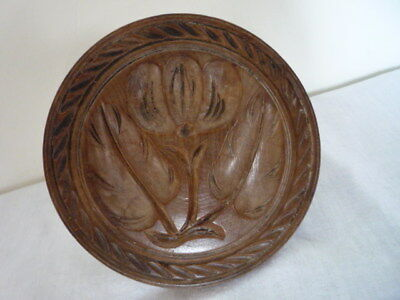 Large 5 Inch Deep Carved Butter Print Butter Stamp Butter Mold Treen Kitchenalia