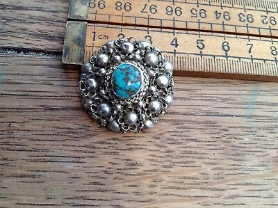 A Vintage Silver 925 And Turquoise Stone Brooch, Made In Palestine