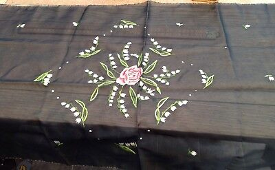 Pretty Vintage Embroidered Table Runner, Rose And Snowdrops Design, Black