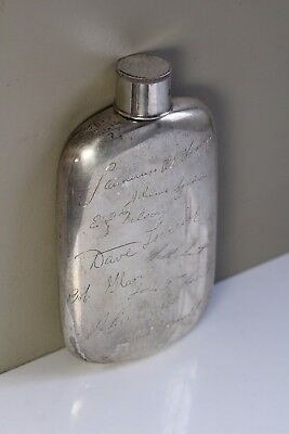 Antique Early 20thC Art Deco Napier Sterling Presentation Flask Collapsible Lid