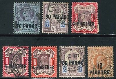 British Levant Queen Victoria and King Edward VII used Surcharged stamps x (7)