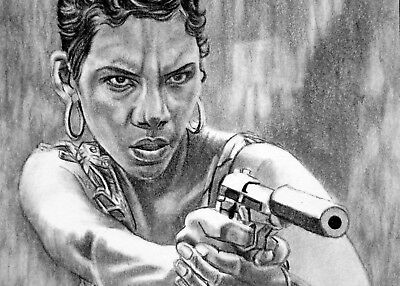 ORIGINAL ACEO sketch card DIE ANOTHER DAY Halle Berry JINX 007