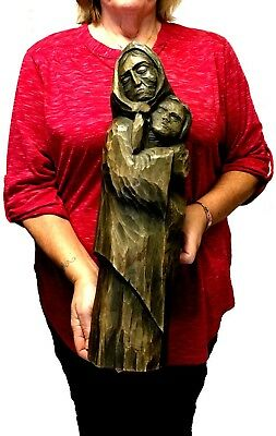 ESTATE:  LARGE, IMPRESSIVE POLISH SCULPTURE of a WOMAN with CHILD, WOOD, CARVED