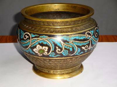 Superb Rare Antique Chinese Censer Cloisonne Enamel Bowl Bronze Brass Signed !