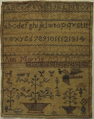 Early/mid 19Th Century Motif & Alphabet Sampler By Ann Morris Aged 11 - 1836