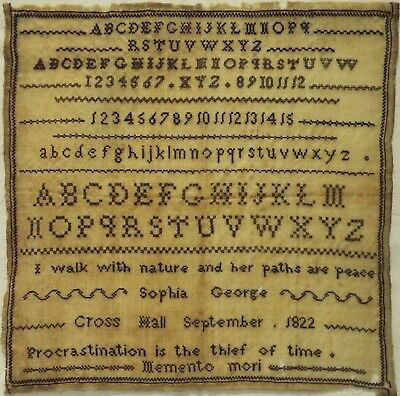 Early 19Th Century Black Stitch Work Quotation Sampler By Sophia George - 1822