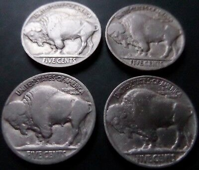 Four USA Buffalo Nickels - 1916,17,20,35 - from Fine to XF