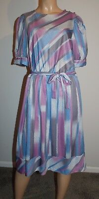 Vintage 1970s 80s Striped Belted Dress L XL
