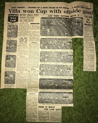 1957 FA Cup Final Aston Villa V Manchester United Daily Express Newspaper Report