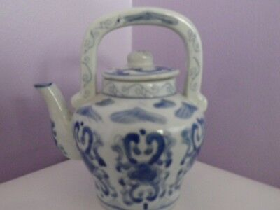 Fab Vintage Chinese Porcelain Blue & White Flower Design Teapot 15 Cms Tall