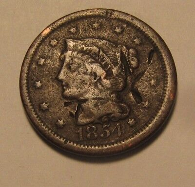 1854 Braided Hair Large Cent Penny - Circulated Condition - 58SU