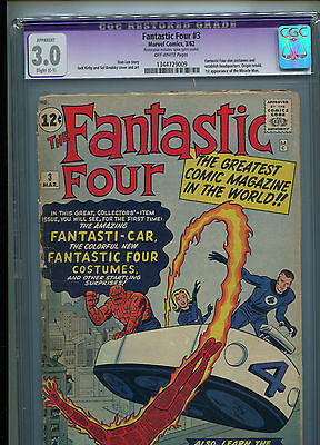 Fantastic Four # 3 - 3Rd Appearance - 1St Costumes - Cgc 3.0 - Key - 1962