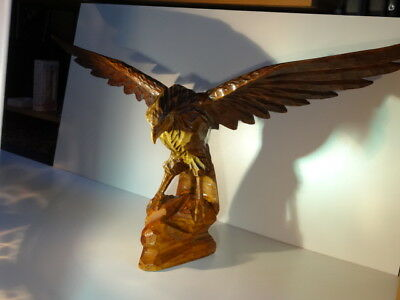 Large Hand Carved Wood American Eagle Wings Outstretched Carving Vintage Bird