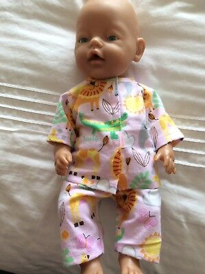 "DOLLS CLOTHES - Pyjamas to fit 17"" Baby Born doll ~ Pink. Animals"