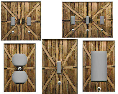 Rustic Wood Plank Barn Doors Image Home Decor Light Switch Plates And Outlets