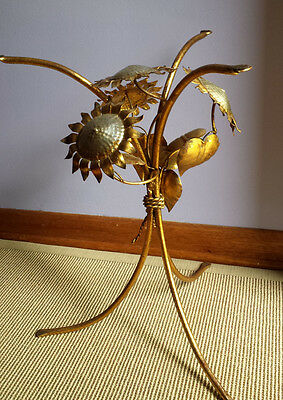 Vintage Italian Tole Gilt Metal TABLE BASE Sunflowers Hollywood Regency MCM