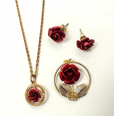 Ladies YELLOW GOLD Tone Red Rose Necklace Pendant and Earring Set - E13