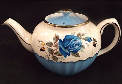 SADLER Blue & White Teapot With Gold Trim & Floral Pattern Made In England - T06