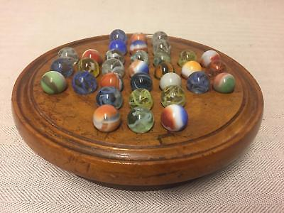 Antique Fruitwood Solitaire Board With Marbles - Great Example