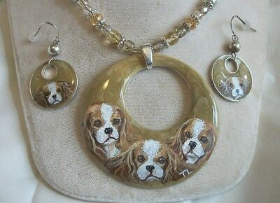 Hand Painted Cavalier King Charles Spaniel Necklace Pendant / earring set