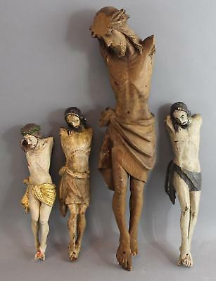 3 Early Antique 19thC Carved & Painted Wood, Jesus Crucifix Santos Sculpture