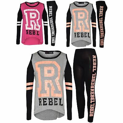 Girls Top Kids Cold Shoulder Rebel Print T Shirt Tops & Legging Set 7-13 Years
