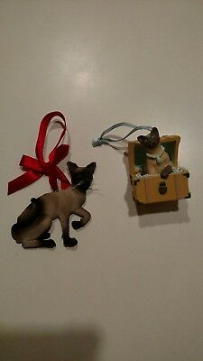 Vintage Siamese Cat Christmas Ornaments - 2 ornaments