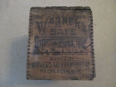 Antique Wood Box WARNER'S SAFE KIDNEY & LIVER REMEDY Patent Medicine Collectible