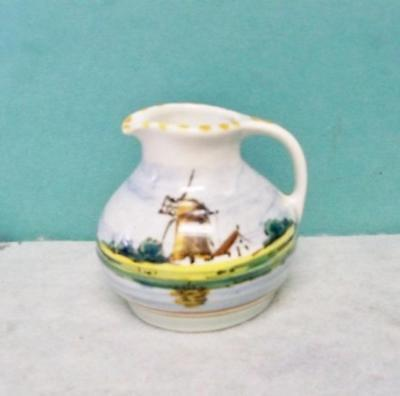 Royal Holland Miniature Pitcher Hand Painted Jug Windmill & Cottage & Sailboats
