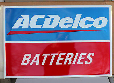 Vintage Mint Unused AC DELCO Battery Reflective Sign   gas oil