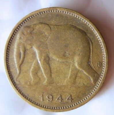 1944 BELGIAN CONGO FRANC - ELEPHANT - Rare Exotic African  Coin - Lot #D10