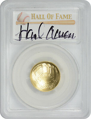2014-W Baseball Hall of Fame $5 Gold Hank Aaron Signature PCGS MS70 First Strike