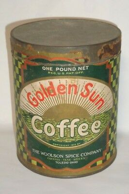 Nice Old Paper Label Golden Sun Brand Advertising Coffee Tin Can