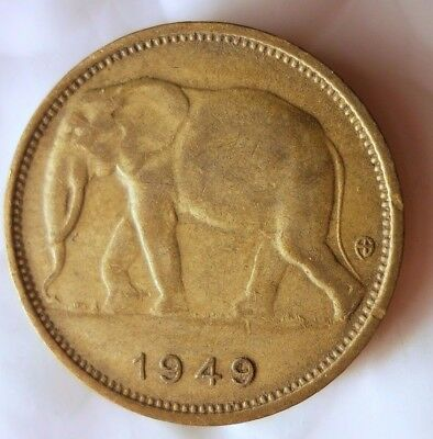 1949 BELGIAN CONGO FRANC - ELEPHANT - Rare Exotic African  Coin - Lot #D10