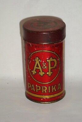 Nice Old NOS Tin Litho A&P Brand Paprika Advertising Spice Tin Can