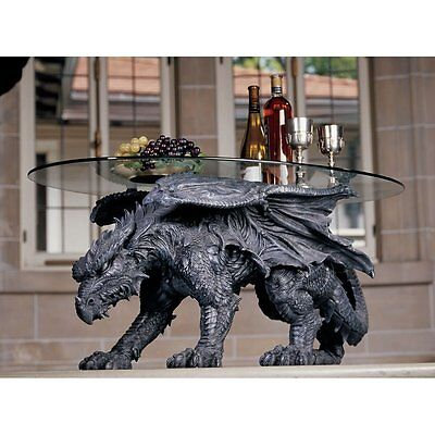 Medieval Gothic Greystone Dragon Glass Topped Sculptural Coffee Table NEW