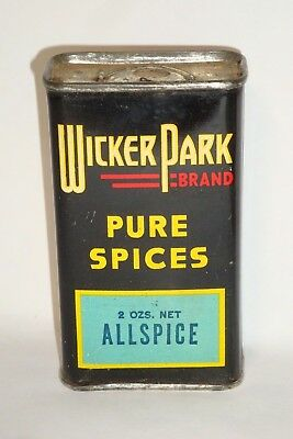 Nice Old Early Tin Litho Wicker Park Brand Allspice Advertising Spice Tin Can