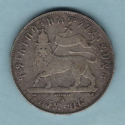 Ethiopia. EE-1889 1 Birr.. Left leg of Lion raised.. Fine+