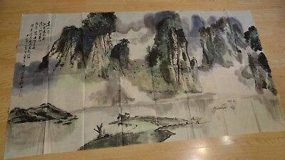 old painting on paper chinese watercolor artwork signed calligraphy huge 63x37