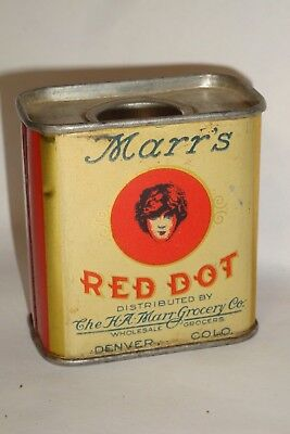 Nice Old Early Tin Litho Marr's Red Dot Brand Mace Advertising Spice Tin Can