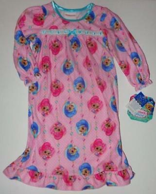 SHIMMER AND SHINE Girls 2T 3T 4T 4 6 8 Pjs Flannel NIGHTGOWN Pajamas Nickelodeon