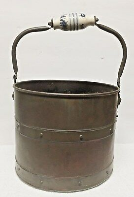 Antique Copper Coal Scuttle / Hearth Bucket  / Fireplace Tools
