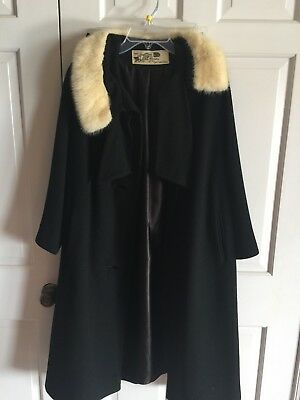 M L Black Wool Blond Mink Fur Collar LILLI ANN Paris Vtg 50s Stunning Dress Coat