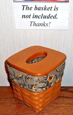 Tall Tissue Basket Liner from Longaberger Khaki Floral fabric.  New & Crisp